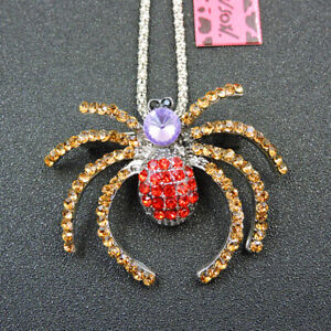 Betsey Johnson Red Gold Crystal Cute Spider Pendant Chain Necklace/Brooch