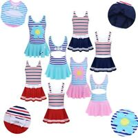 Girls Flower One-piece Striped Swimsuit Swimwear Kids Skirted Beach Bathing Suit
