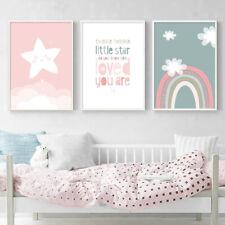 Cotizaciones de guardería arco iris de dibujos animados cartel impresión de LONA pared arte decoración dormitorio de niños