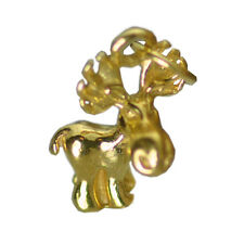 Real SOLID 10K YELLOW GOLD Cartoon 3D Moose charm Pendant jewelry