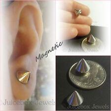 MAGNETIC Spike Stud 10 mm x 8 mm Silver Tone Non-Pierced 1 Pair Earrings Y188