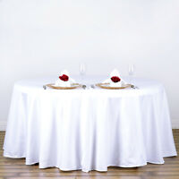 """WHITE 120"""" ROUND POLYESTER TABLECLOTH Wedding Kitchen Catering Decorations"""