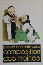 """""""Café COMPOSITION DES MOINES"""" Affiche originale entoilée Litho René VINCENT 1925"""