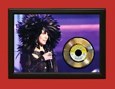 Cher Poster Art Wood Framed 45 Gold Record Display C3