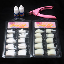 Simple Nail Art Set #52 -Natural/White French Nail Tips & Pink Clipper & 2x Glue