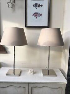Porta Romana Pair of Nickel Stick Lamps Contemporary Modern Designer