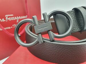 Salvatore Ferragamo Gancini belt with graphite tone buckle