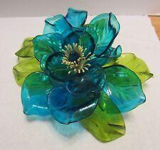 "Vtg Large Acrylic Plastic Flower Blue w Green Mid Century Corelli-Like 10"" Wired"
