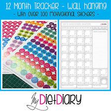 12 mese Tracker alimentazione sana, dieta, dimagrimento, perdita di peso, CALENDARIO & Adesivi