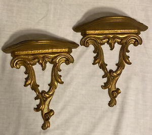 Antique Vintage French Gold Gilt Wood Wall Shelf Corbel Sconces Pair Set Gilded