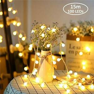 Zorela Globe String Lights, 15M 100 LED Fairy Lights with Remote, Outdoor Indoor