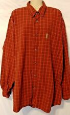 COLUMBIA Red Plaid Long Sleeve Shirt Mid Weight Cotton size 3XB