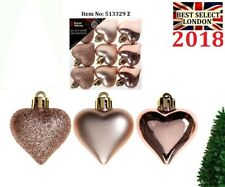 Set Of 9 4cm Heart Decorations in PVC Box Rose Gold Glitter Baubles Tree Xmas UK