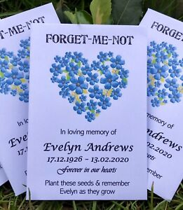 10 Personalised Forget-Me-Not Seeds Funeral  Memorial Memory Remembrance Favours
