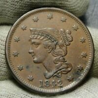1842 Large Cent Penny, Braided Hair Penny - Nice Coin Free Shipping (8772)