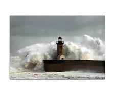 120x80cm Wandbild auf Leinwand Leuchtturm Welle Sturm See  Sinus Art
