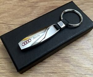 AUDI A3 A4 A5 A6 A8 R8 TT RS NEW STYLISH METAL KEY RING KEYCHAIN CHROME S LINE