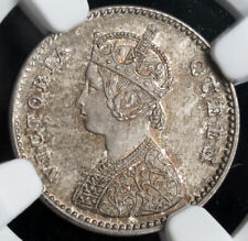 1862, India (British). Silver 2 Annas Coin. Unusual Proof-Like Variety! NGC MS65
