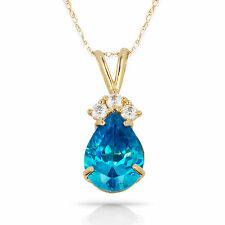 3.70 CT Blue Topaz Pear Shape 4 Stone Gemstone Pendant & Necklace 14K Y Gold