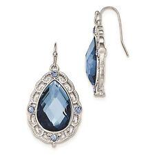 Silver Tone Blue Epoxy Glass Teardrop Dangle Earrings 1928 Boutique
