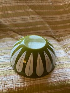 """Catherine Holm 11"""" Green and White Enamelware Large Bowl MCM"""