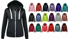 Ladies Women's Zip up Plain Hoodie Jacket with Pockets Sizes XS S M L XL 16-22