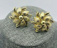 Vintage Coro Gold Earrings Pinwheel Flower Layered  Floral Snowflake Textured