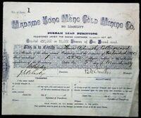 Scrip Australia 1889? - Madame Kong Meng Gold Mining Co., Certificate #1