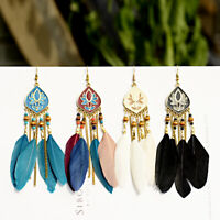 Women Bohemian Carved Ethnic Rainbow Flower Feather Tassel Dangle Retro Earrings