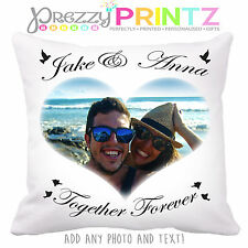 PERSONALISED GIFT CUSHION ADD YOUR PHOTO & TEXT CHRISTMAS ANNIVERSARY WEDDING