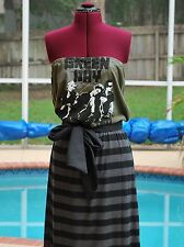 Green Day Concert Strapless Tube Maxi Dress Sash Upcycled T-Shirts XL