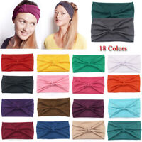 Wide Cotton Yoga Sport Knotted Headband Elastic Turban Hairband Solid Headwrap H