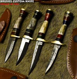 Brussel Handmade Damascus Steel Stag Antler Art Hunting Skinner Knife
