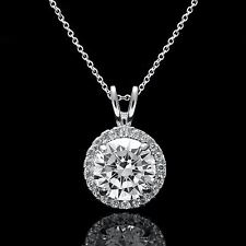 "2TCW Halo Created Diamond Pendant 16"" 14k White Gold Cable Chain Necklace Set"