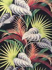 Vintage Tropical Bark Cloth Gorgeous Black Vibrant Colors Unused Large Piece