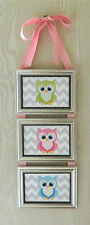 Kids Room Nursery Owls on Chevron Picture Collage Frame Hanging Wall Art Decor