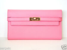 RARE Authentic NEW Hermes Kelly Long Wallet PINK Rose Confetti Epsom GHW Clutch