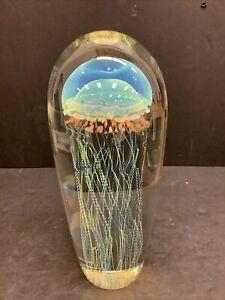 "FINE 9"" Richard Satava Crystal MOON JELLYFISH Handblown Glass, Signed No Res"
