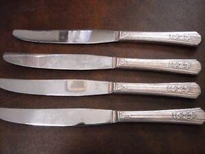 4 Knives Oneida Rogers Rosalie A1Plus Silverplate 1938 Vintage Knife grp1