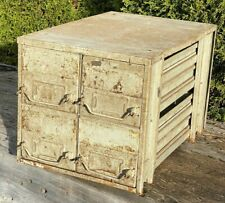 Vintage 4 Drawer Industrial Parts Cabinet, Swing Handle ~ Workbench, Table Top