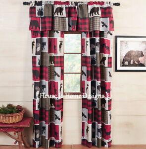 LODGE LIFE 5pc CURTAIN SET : BLACK BEAR MOOSE RED CHECK WINDOW PANELS VALANCE