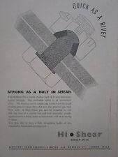 4/1947 PUB SIMMONDS AEROCESSORIES HI SHEAR PIN BOLT RIVET VISSERIE ORIGINAL AD