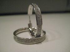 9ct oro bianco, NUOVO cerchio glitter effetto polvere lunare Diamante orecchini