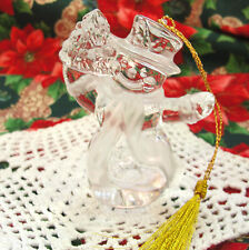Lenox Solid Fine Crystal Snowman Christmas Tree Ornament Germany Old Green Tag