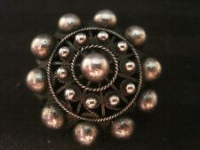Sterling Silver Beaded Filigree Pin Brooch Beads Dome Vintage Antique Jewelry