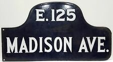 c. 1910's New York City Enamel/Porcelain Street Sign - E. 125 St. & Madison Ave.