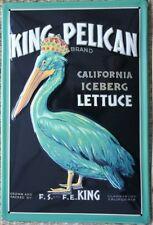 KING PELICAN  Embossed Metal Sign - Vintage Advert Iceberg Lettuce - California