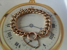 LARGE VICTORIAN 10CT ROSE GOLD/F CURB LINK POCKET WATCH CHAIN BRACELET. C~1890's