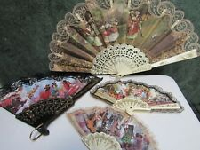 Lot of  4 Spanish Style Lace Fans Bridal Fan Spanish Dancing Folding Hand Fans