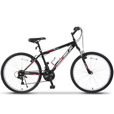 26'' Mountain Bike Hybrid Bike 18 Speed Front Suspension Shimano Bicycles Black